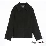 獨身貴族 CASHMERE喀什米爾羊毛小翻領短版大衣(2色)-黑色