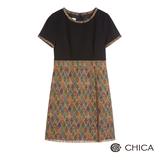 CHICA 幾何織紋小流蘇下襬短袖洋裝(2色)-彩花