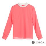 CHICA 白領女孩素雅上衣(2色)-粉桔