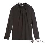 CHICA 花樣女孩長袖上衣(2色)-墨黑