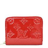 Louis Vuitton LV M90202 經典花紋全漆皮壓紋信用卡零錢包.紅 預購