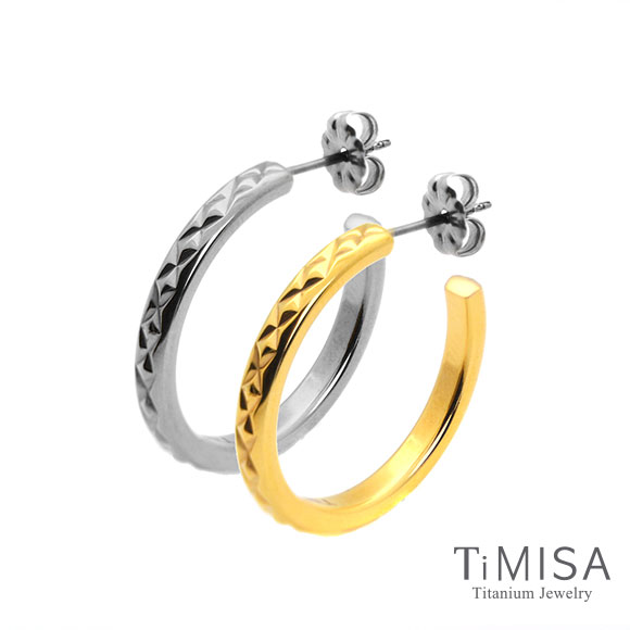 【TiMISA】格緻星光-細版(雙色)純鈦耳環一對