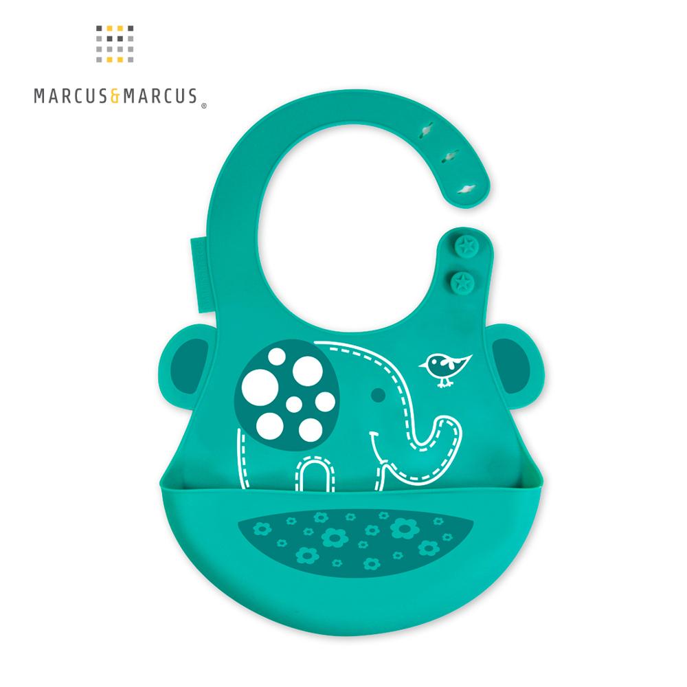 【MARCUS&MARCUS】動物樂園矽膠立體圍兜-大象