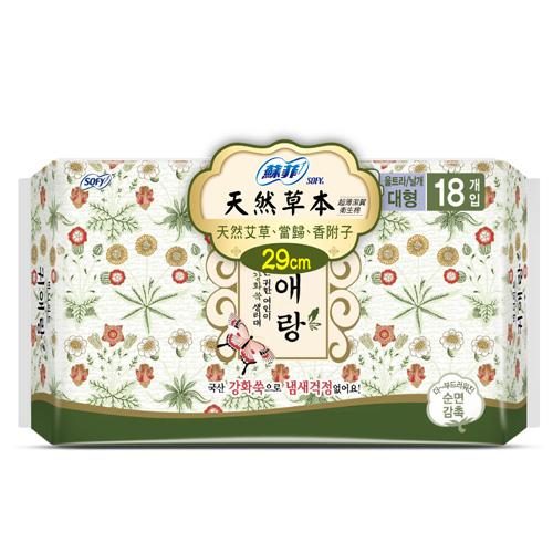 蘇菲天然草本衛生棉29cm 18片