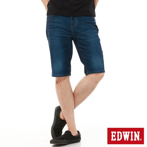 EDWIN 加大碼 迦績褲JERSEYS內藏腰頭牛仔短褲-男-酵洗藍