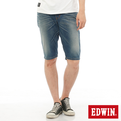 EDWIN 503NARROW基本牛仔短褲-男-中古藍