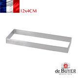 法國【de Buyer】畢耶烘焙『法芙娜不鏽鋼氣孔塔模系列』長方形帶孔公分塔模12x4公分