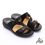 【A.S.O】手縫氣墊系列  全真皮3E寬楦魔鬼粘涼拖鞋(黑)