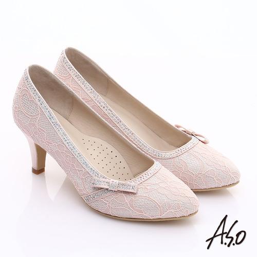 【A.S.O】甜蜜樂章 優雅美型蕾絲緞布蝴蝶結鑽飾中跟鞋(粉紅)