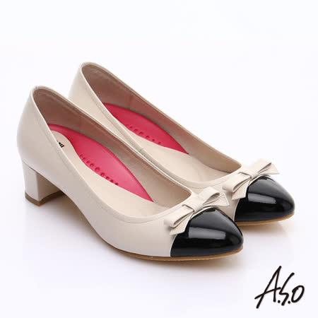 A.S.O 阿瘦 真皮拼接粗跟中跟鞋