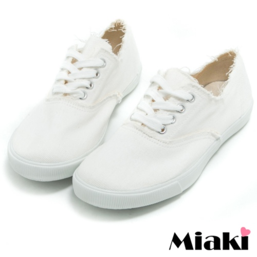 【Miaki】MIT 休閒鞋首爾單寧帆布包鞋懶人鞋 (米色)