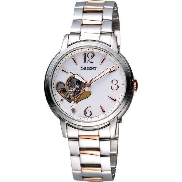 ORIENT 東方錶 甜蜜愛戀時尚鏤空女錶-珍珠貝x雙色版/35mm FDB0700EW