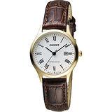 ORIENT 東方錶 優雅復刻羅馬數字石英女錶-白x金框/28mm FSZ3N009W