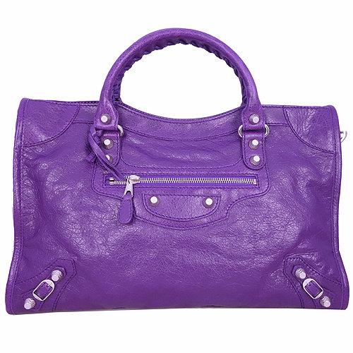BALENCIAGA巴黎世家GIANT CITY HAMILTON銀釦機車包(紫)