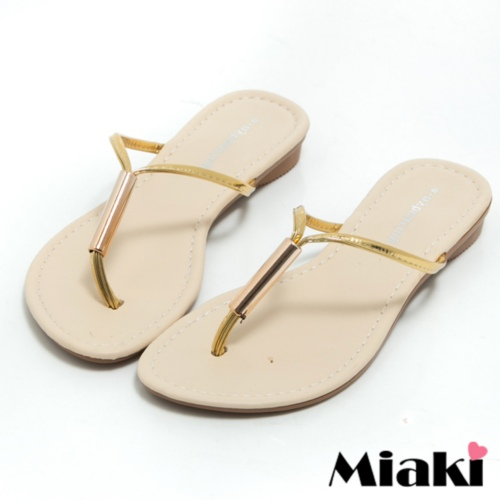 【Miaki】MIT 拖鞋韓風簡約平底夾腳涼鞋 (金色)