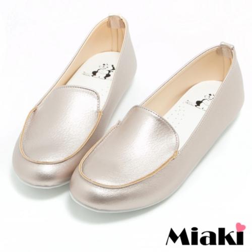 【Miaki】MIT 休閒鞋韓版流行平底樂福包鞋 (金色)