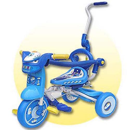 [孩子國] 兒童可後控摺疊豪華三輪車 藍色