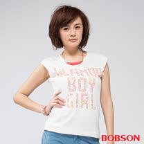 BOBSON 女款燙貼彩色鋁片短袖上衣(白24111-81)