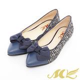 MK-台灣製全真皮-毛呢尖頭蝴蝶結娃娃鞋-藍色