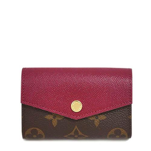 Louis Vuitton LV M61273 Sarah Multicartes 經典花紋皮革拼接零錢包.紫紅_預購