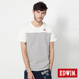 EDWIN 江戶勝 簡潔條紋短袖T恤-男-米白