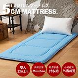 LAMINA Microban輕便日式床墊5cm-天空藍(雙人)