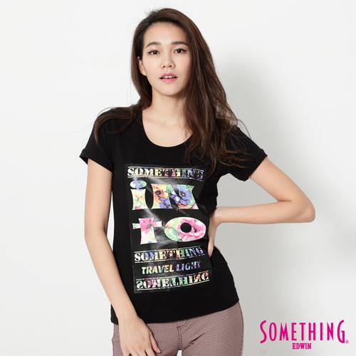 SOMETHING 花卉印花U領合身短袖T恤-女-黑色