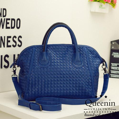 DF Queenin日韓 - 韓版編織款大容量2用式貝殼包-藍色