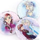 【Disney 】可愛圓形雙面折疊鏡/化妝鏡/隨身鏡-素描冰雪