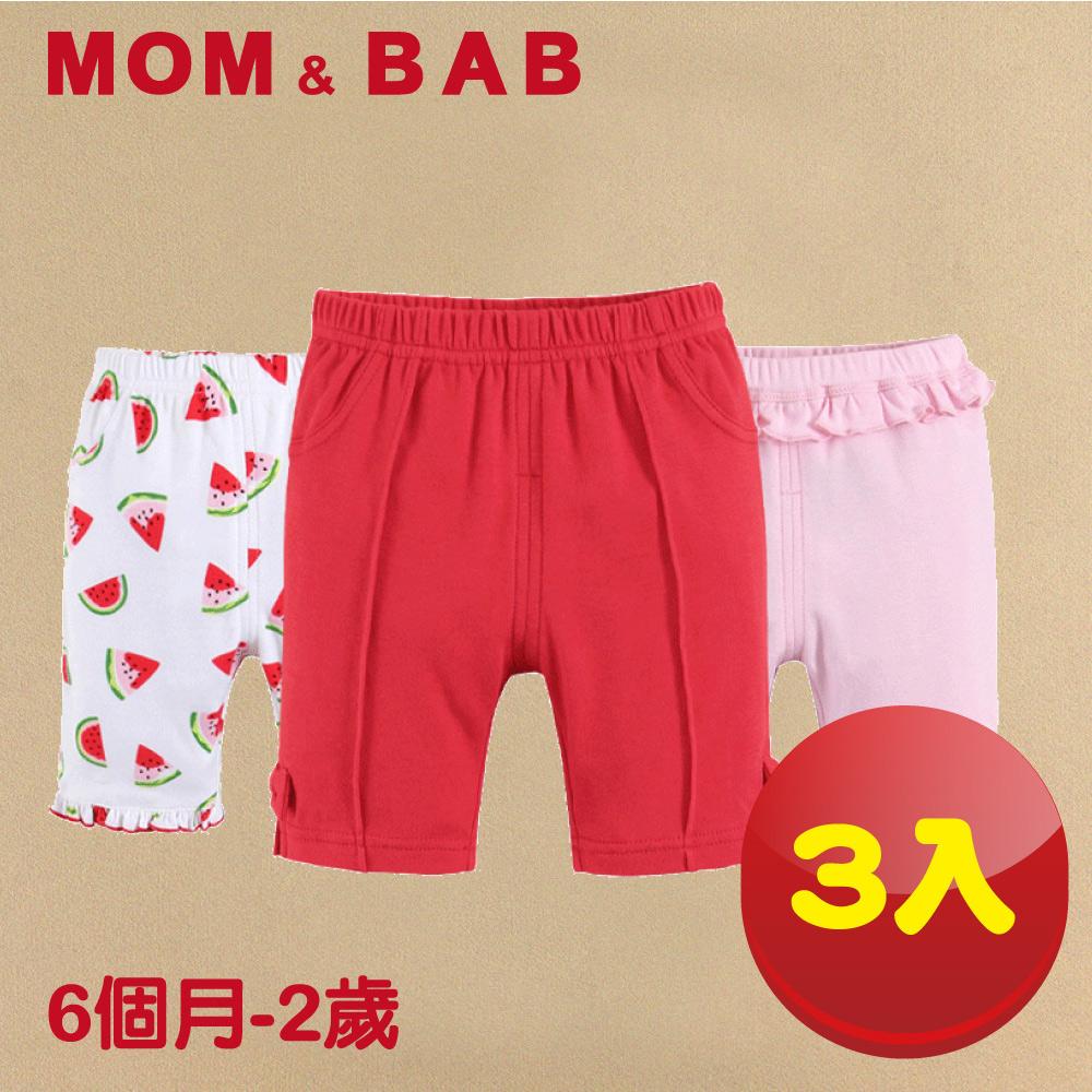 (購物車)【MOM AND BAB】甜美西瓜純棉五分短褲(三件組)(6M~4T)
