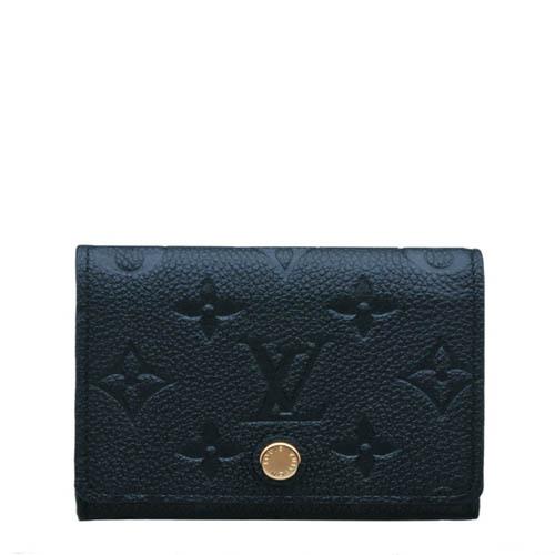 Louis Vuitton LV M58456 經典花紋皮革壓紋信用卡名片夾.黑_預購