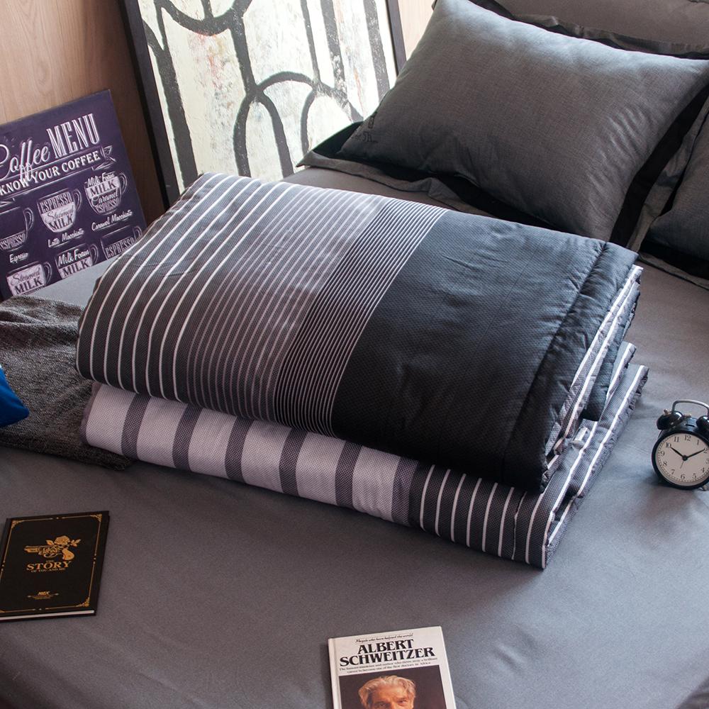 OLIVIA  諾曼爾 灰黑 5尺X6尺 100%精梳純棉夏日涼被