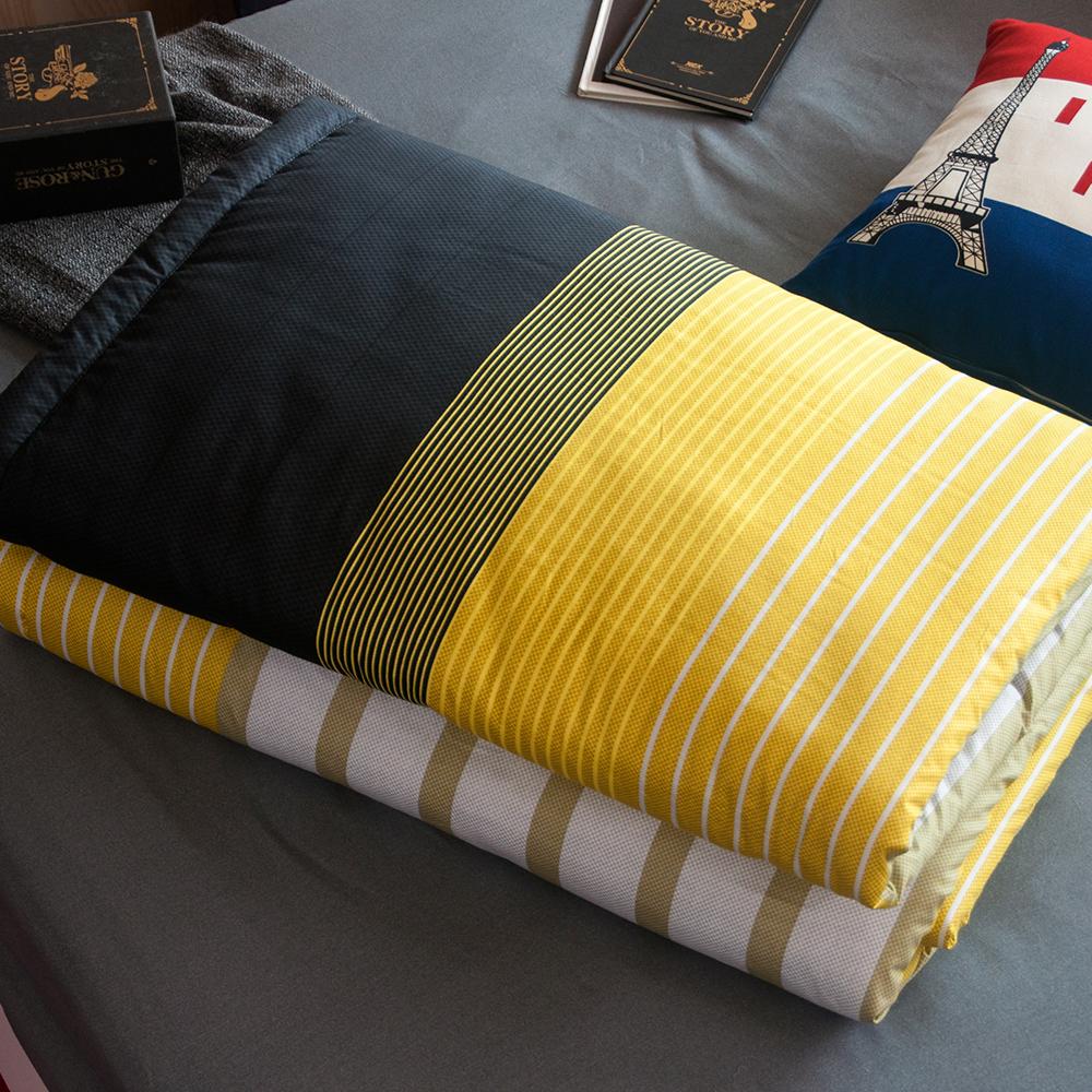 OLIVIA  諾曼爾 黃黑 5尺X6尺 100%精梳純棉夏日涼被