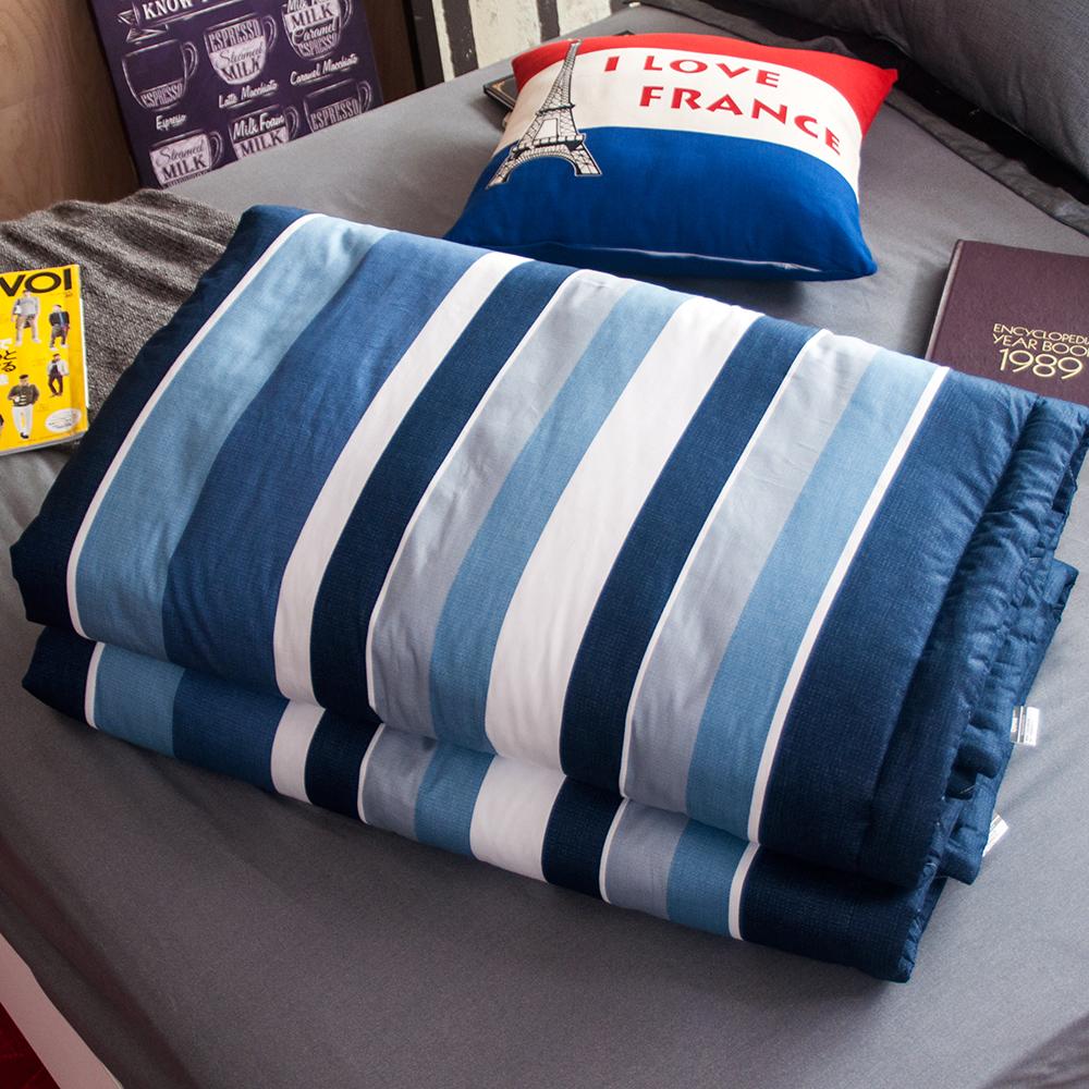 OLIVIA  北歐簡約 藍 5尺X6尺 100%精梳純棉夏日涼被