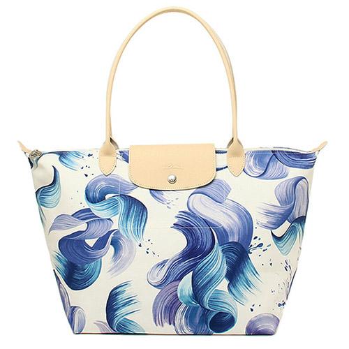 Longchamp 藝術水花圖紋棉質帆布水餃包_ 長把/中/藍色