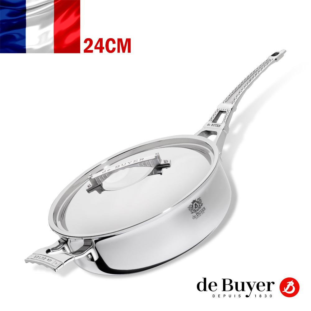 法國【de Buyer】畢耶鍋具『藍嶽系列』鐵塔柄握耳平煎炒鍋24cm(含蓋)