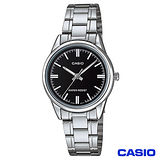CASIO卡西歐 簡潔風格鋼帶女錶-黑 LTP-V005D-1A