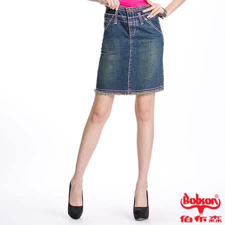 BOBSON 女款雙腰頭粉色車線牛仔短裙(D071-53)