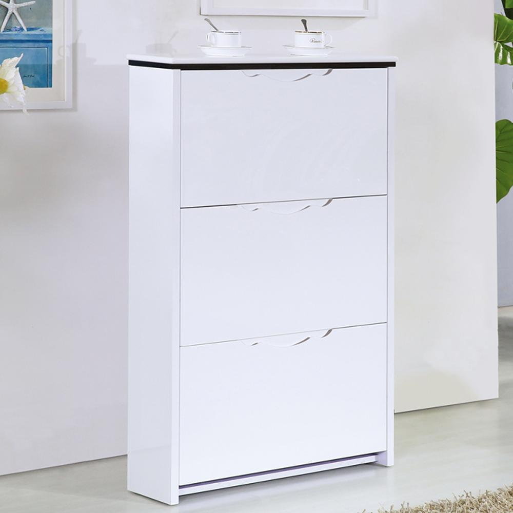 AT HOME-翠西2.3尺白色三門掀式鞋櫃