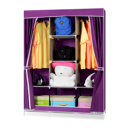 超大簡易DIY防塵衣櫃-紫色 -friDay購物