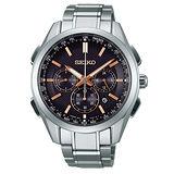 SEIKO Brightz 鈦計時太陽能三眼電波腕錶-黑x玫瑰金標/43mm/8B92-0AA0K(SAGA199J)