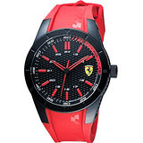 Scuderia Ferrari 法拉利 RedRev 競速手錶-黑x紅/44mm 0830299