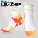 LEADER COOLMAX 透氣中筒戶外健行 機能運動襪 女款 (橙色)