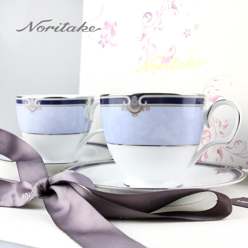 【NORITAKE】巴別克銀邊咖啡對杯