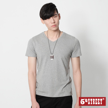 5th STREET LOGO印花V領短袖T恤-男-麻灰