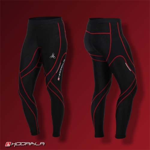 (男女) HODARLA 蛹壓縮緊身長褲-慢跑 路跑 夜跑 內搭褲 緊身褲 束褲 紅黑
