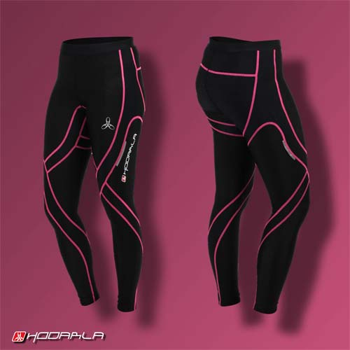 (男女) HODARLA 蛹壓縮緊身長褲-慢跑 路跑 內搭褲 緊身褲 束褲 透明粉紅黑