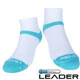 【LEADER】COOLMAX/除臭/機能運動襪(白藍)