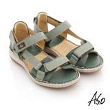 【A.S.O】頂級氣墊 全真皮雙魔鬼氈奈米鞋墊涼鞋(綠)