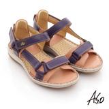 【A.S.O】頂級氣墊 全真皮雙魔鬼氈奈米鞋墊涼鞋(紫)